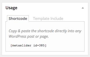 Metaslider Usage