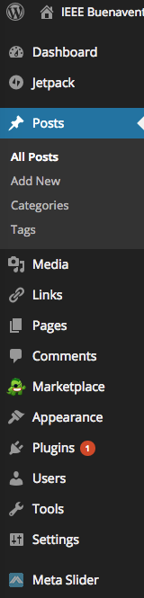 Site WordPress Dashboard