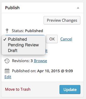 Site WordPress Publish Status